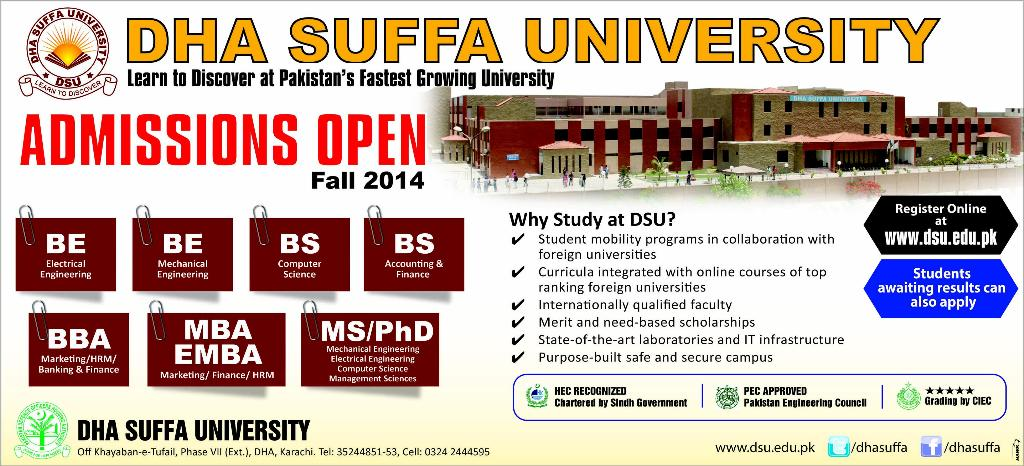 DHA Suffa University Karachi Admissions Fall 2014 Online