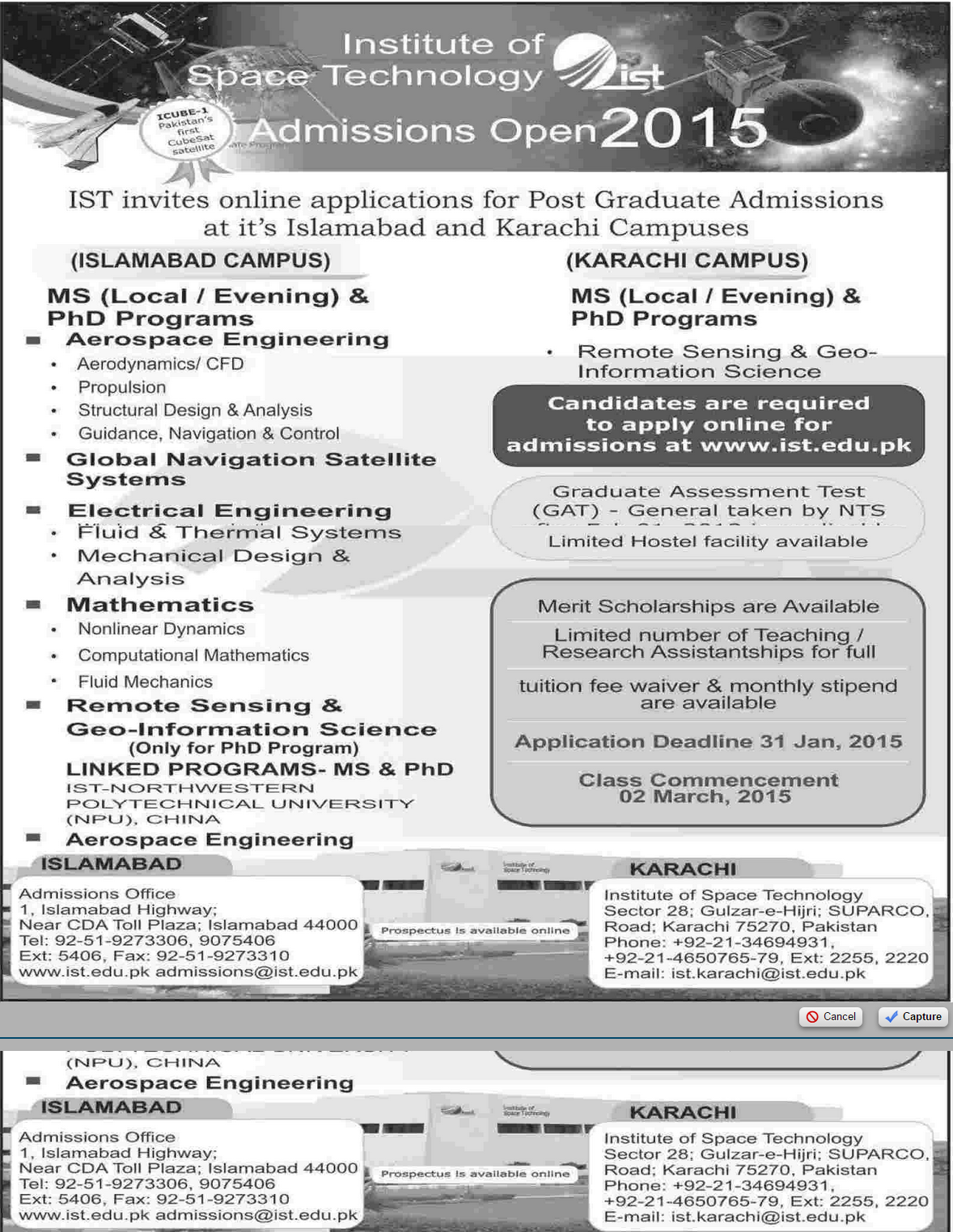 Institute of Space Technology Islamabad Graduate Admission 2015 PhD, MS