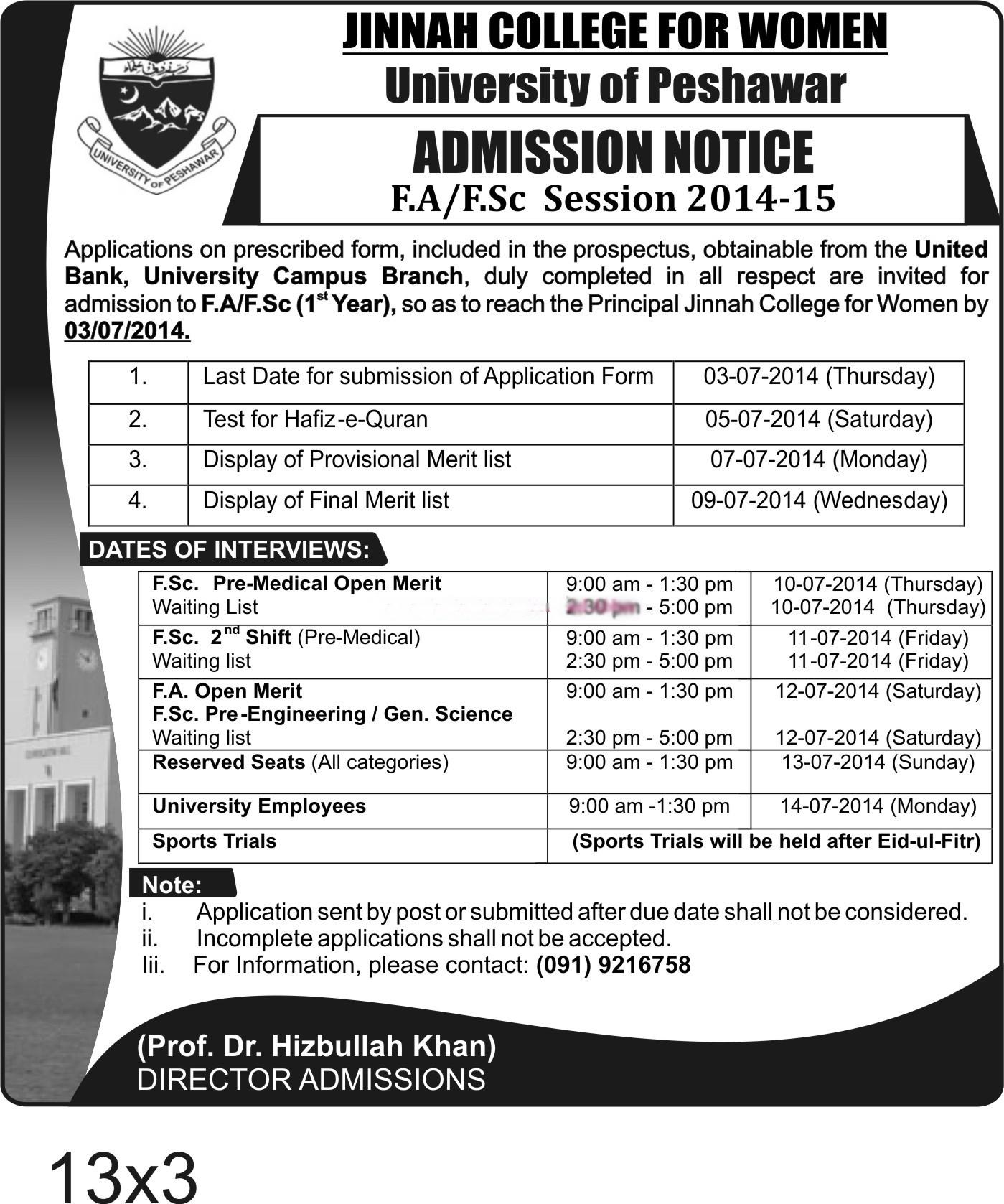 Jinnah College for Women Peshawar Admission Merit Lists 2014