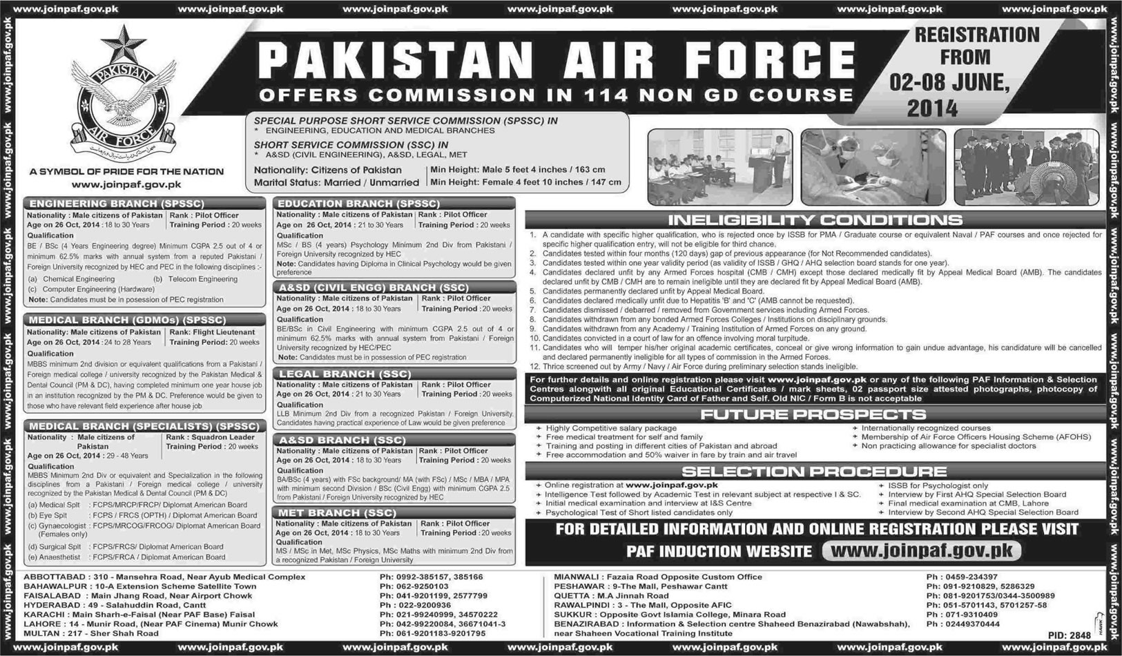 Join PAF Through Commission in 114 Non GD Course 2014 Apply Online