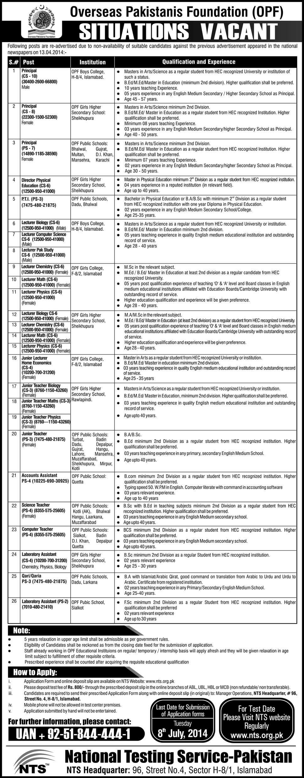 OPF Overseas Pakistani Foundation NTS Jobs 2014 Application Form Download