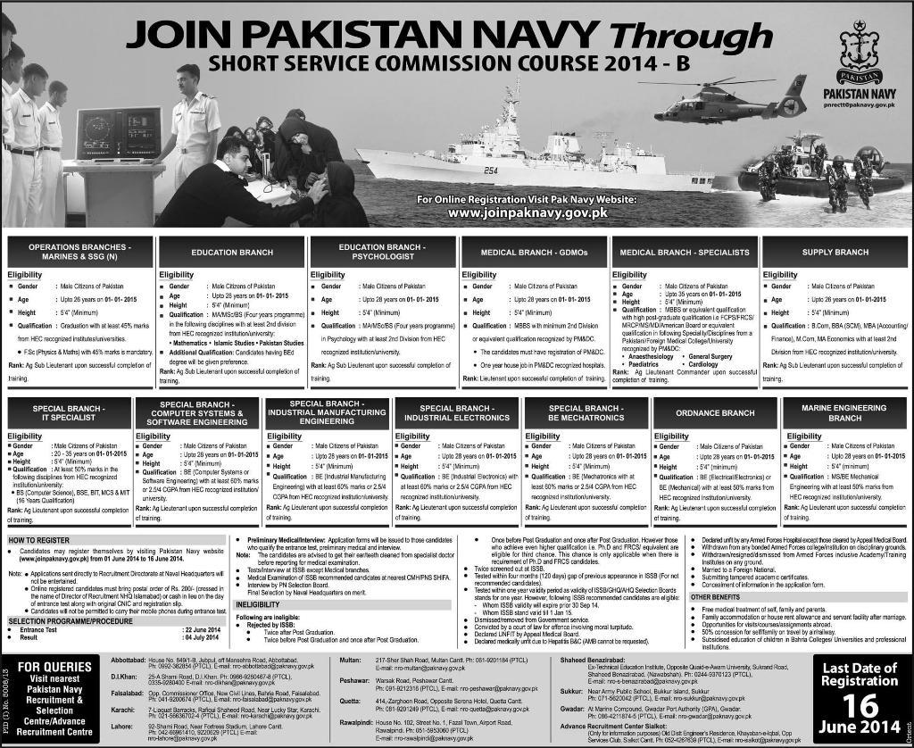 Pak Navy Jobs Short Service Commission Course 2014 B Online Registration
