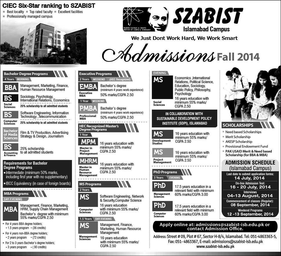SZABIST Islamabad Admission Fall 2014 Online Form, Last Date