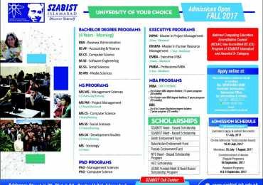 SZABIST Admissions 2017 Form Online, Entry Test Result