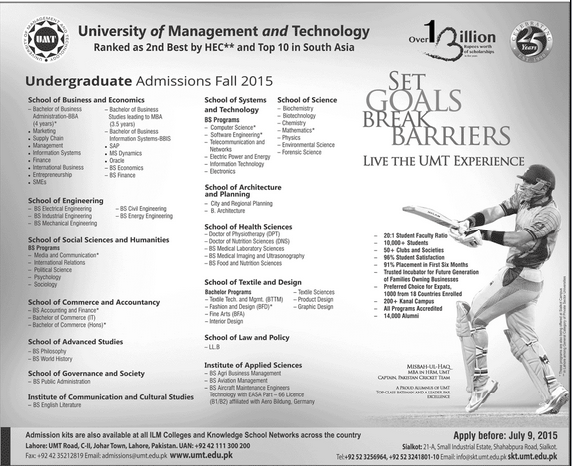 UMT Fall Admissions 2015