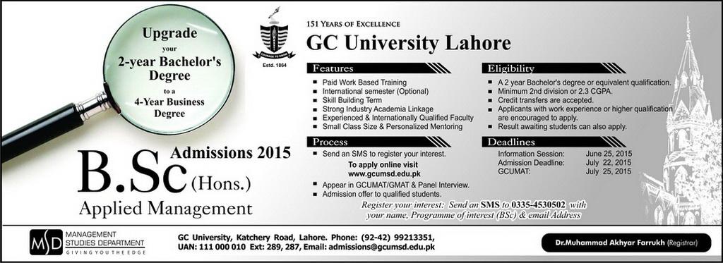 GC University Lahore BSc Admission 2015 Merit List