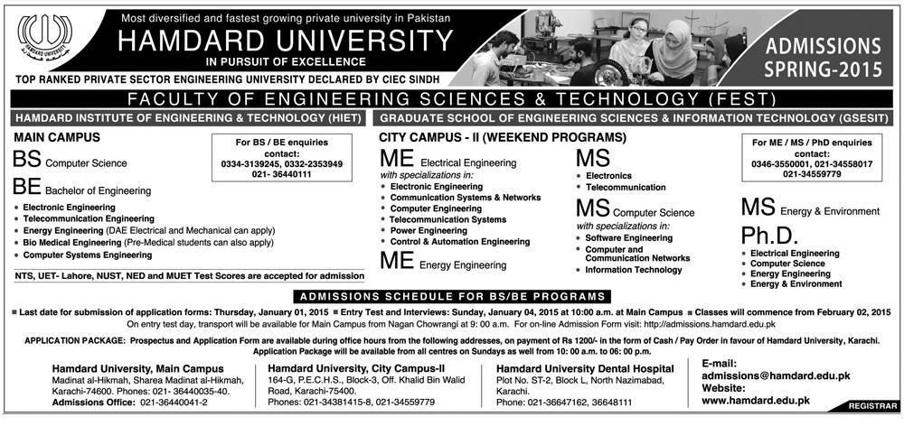 Hamdard University Islamabad Spring Admission 2015
