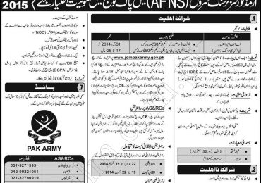 Join Pakistan Army As Armed Forces Nursing Service AFNS 2014 Form