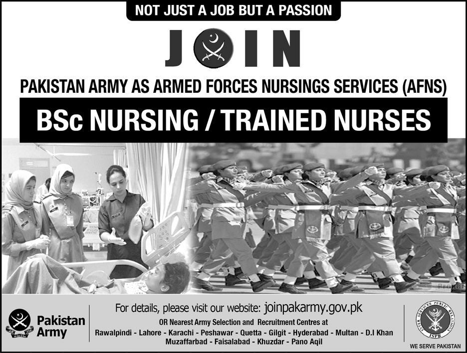 Join Pak Army as Armed Forces Nursing Service AFNS 2018 Online Registration