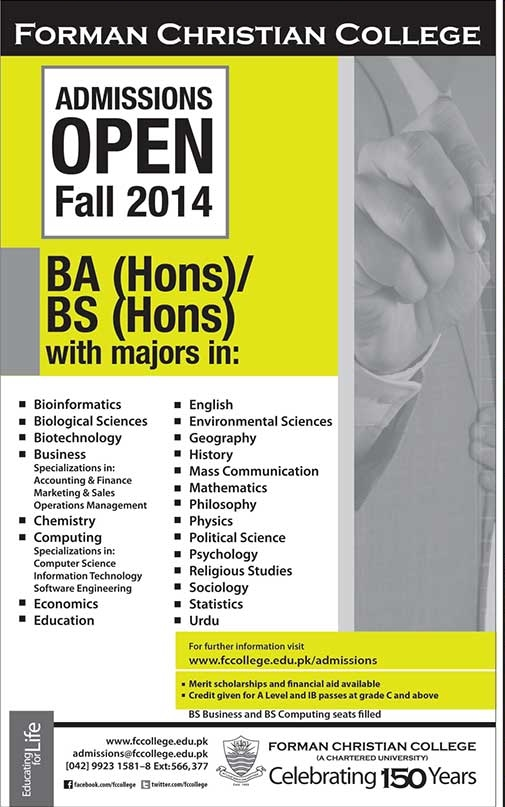 Forman Christian College FCC BA, BS (Hons) Fall Admission 2014 Form