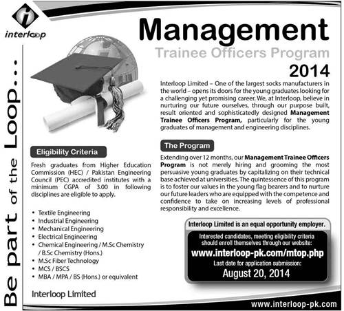 Interloop Pakistan Job Management Trainee Officers Program 2014 Form