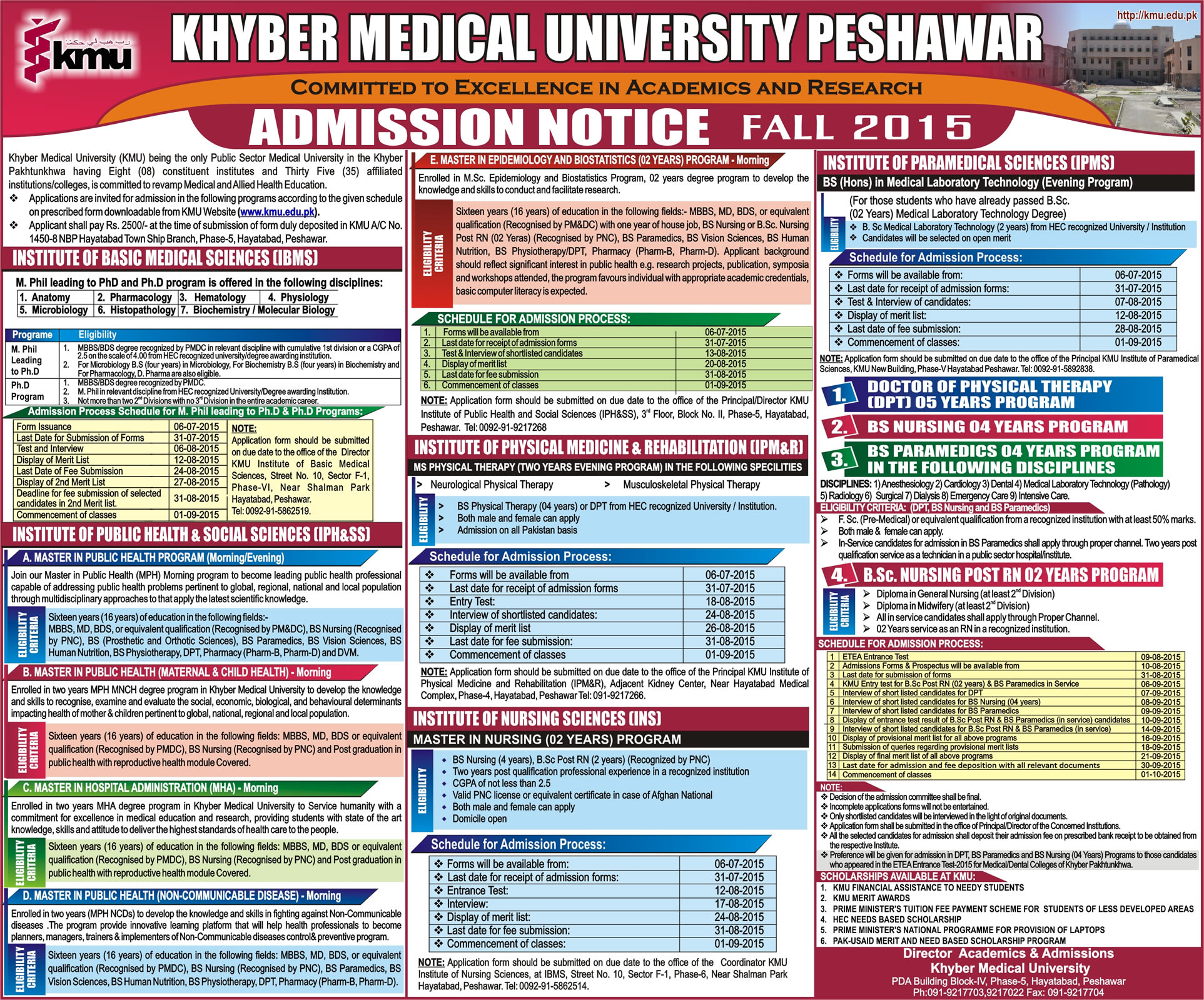 KMU Institute of Medical Sciences KIMS Kohat Admission 2015