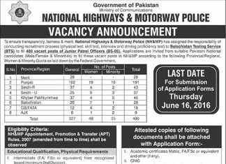 National Highway And Motorway Police Jobs 2016 Patrol Officer BTS Form