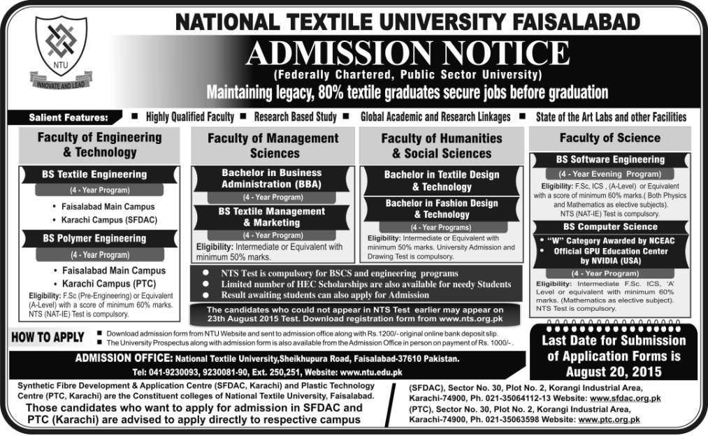 National Textile University Faisalabad NTU Undergraduate Admissions 2015