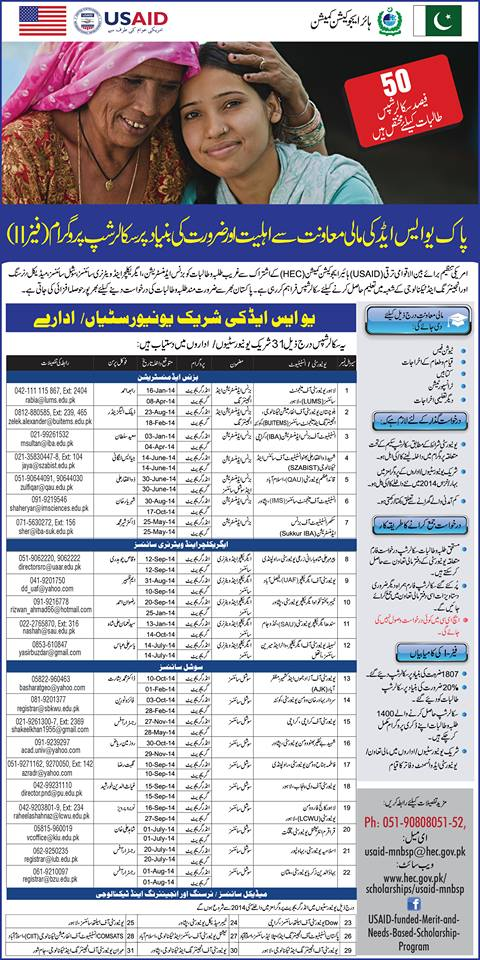 PAK USAID Merit and Needs Based Scholarship Program 2015 Phase 2