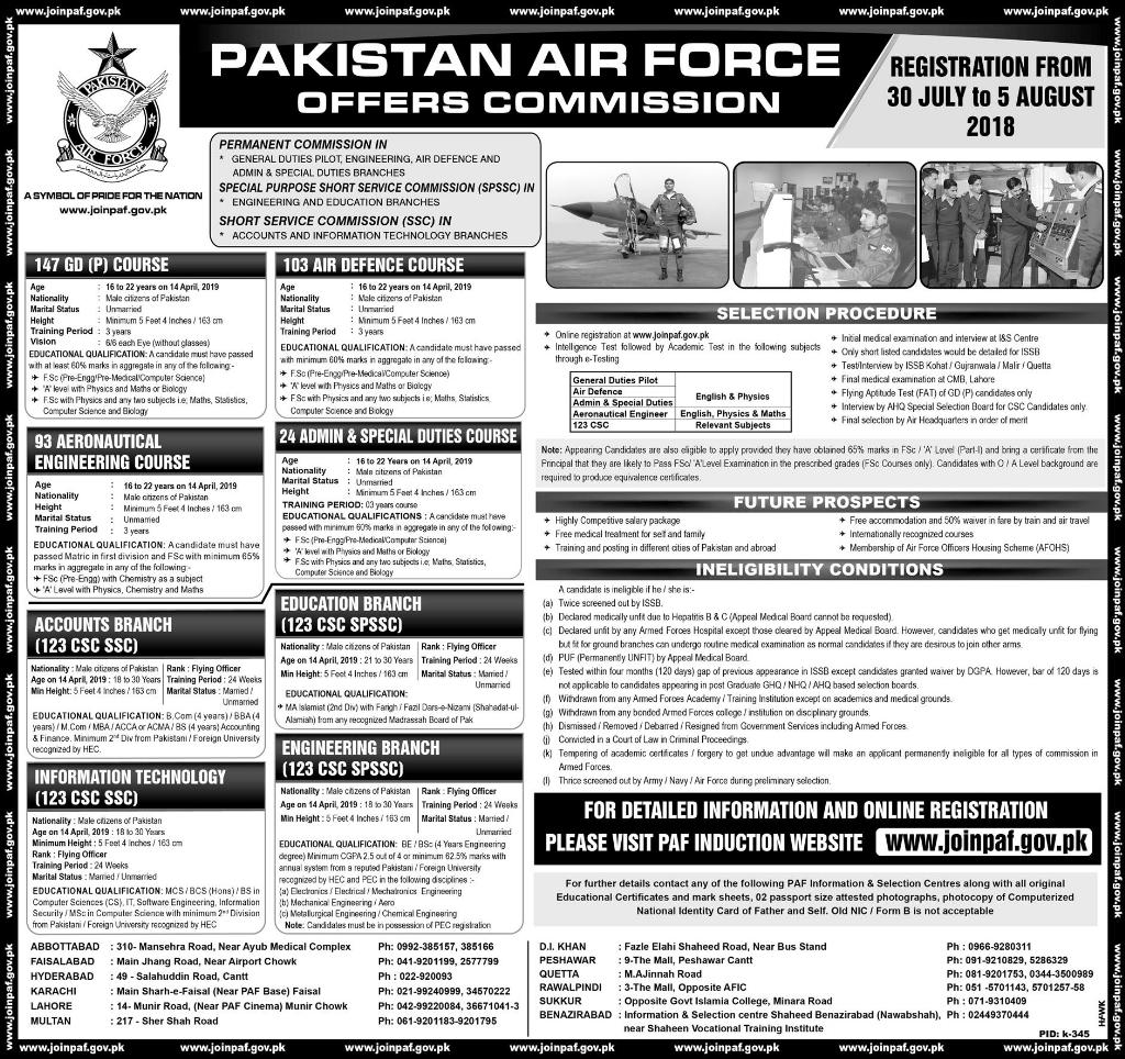 Pakistan Air Force Commission Jobs 2018 Online Registration Advertisement