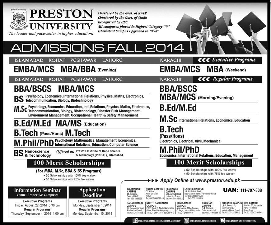 Preston University Admission Fall 2014 Form Download