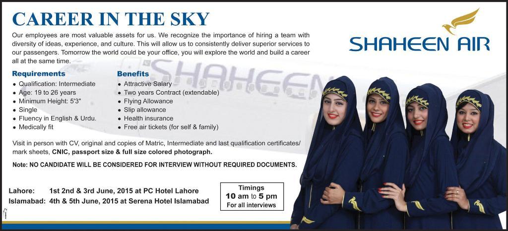 Shaheen Airline Female Cabin Crew Jobs 2015