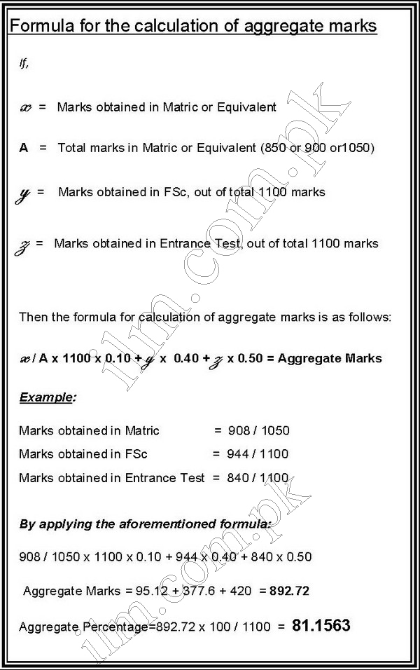 UHS MCAT Aggregate Formula 2015, How to Calculate Marks