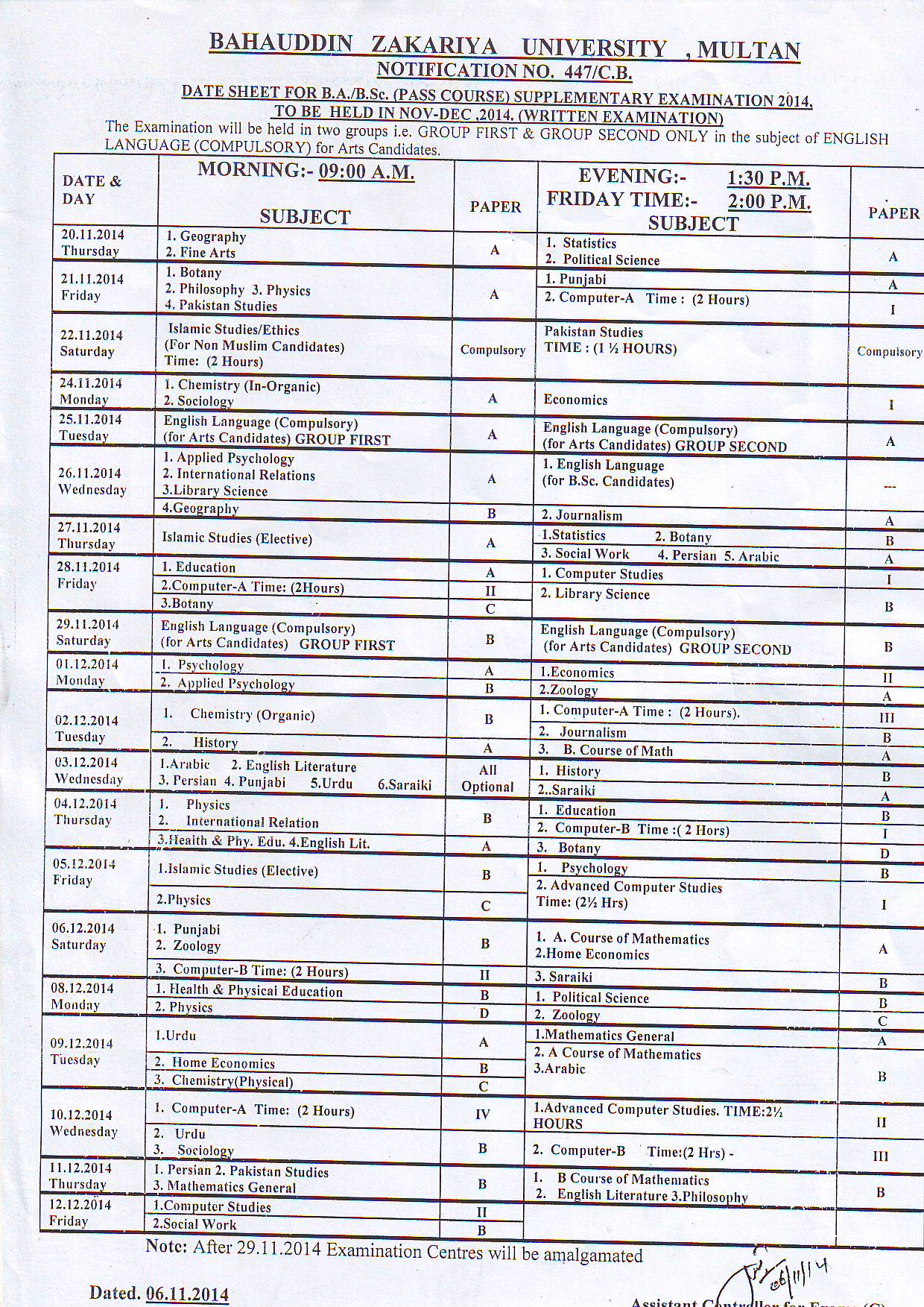 Bahauddin Zakariya University BZU BA/BSc Supplementary Date Sheet 2014
