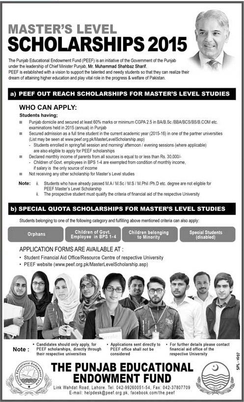 PEEF Master Level Scholarship 2016 Out Reach, Special Quota Application Form