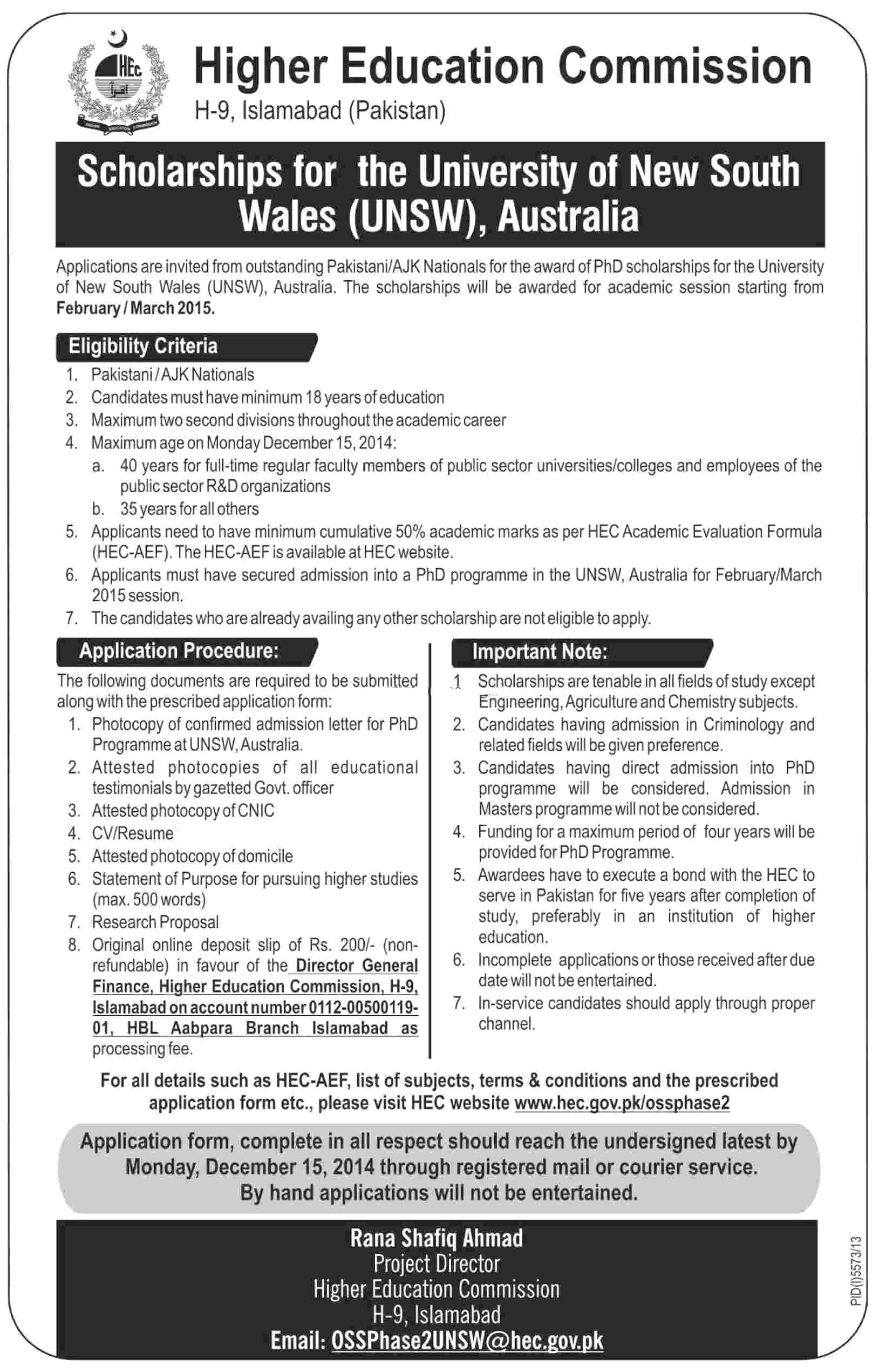 HEC Scholarships For PhD In Australia 2017 Procedure, Criteria, Last Date
