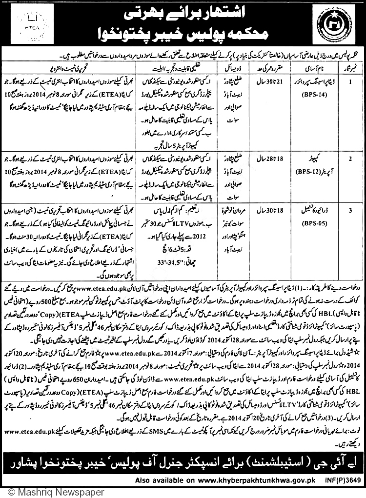 kpk police jobs 2014 data processing supervisors  driver