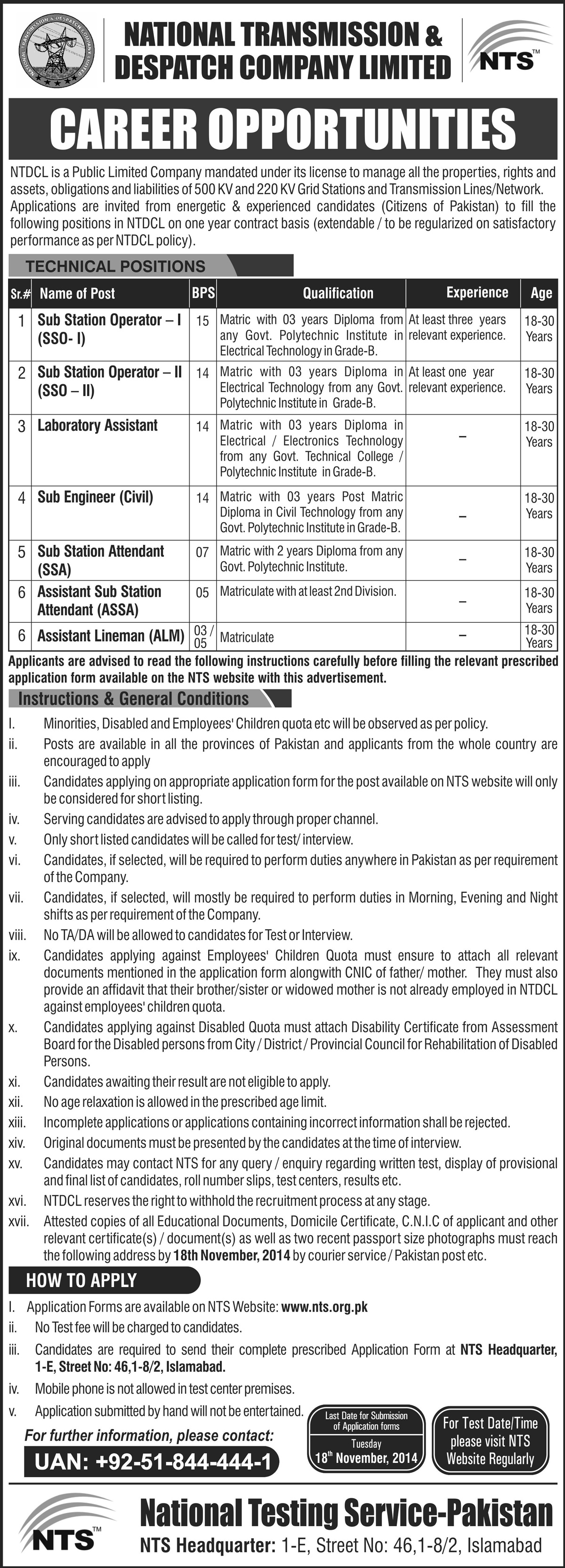 National Transmission & Despatch Company NTDC Jobs 2015 NTS Form Download