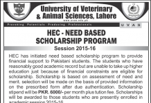 UVAS HEC Need Based Scholarship Program 2015-2016 Form Download