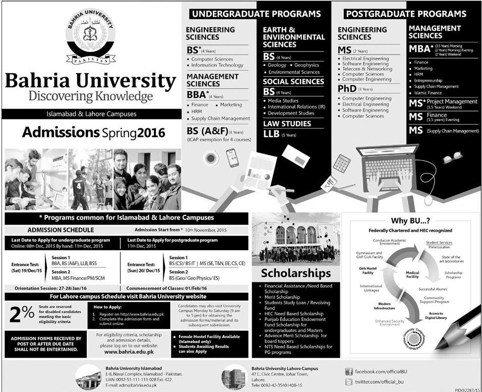 Bahria University Islamabad Spring Admission 2016