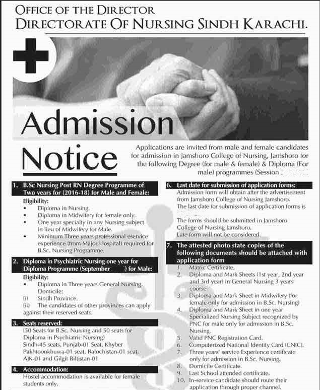 directorate of nursing sindh karachi admission 2018 form