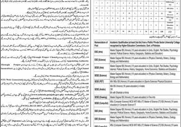 District Chiniot Educator Jobs 2018