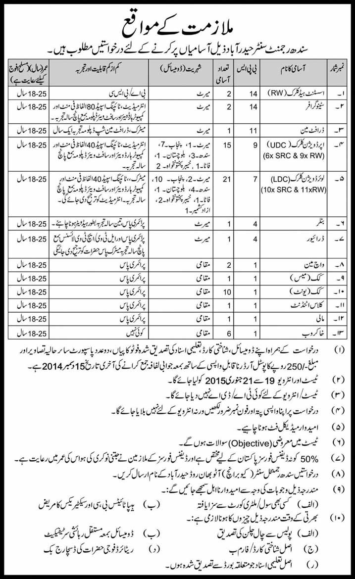 pak army sindh regiment jobs 2014 hyderabad form  test