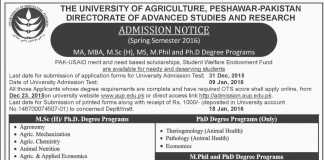 University Of Agriculture Peshawar Admission 2016 MBA, MSC, M.Phil, PhD Form