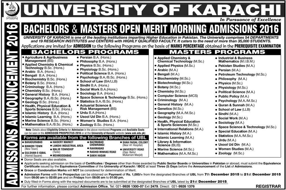 University of Karachi UOK Admission 2016 in Bachelor and Master