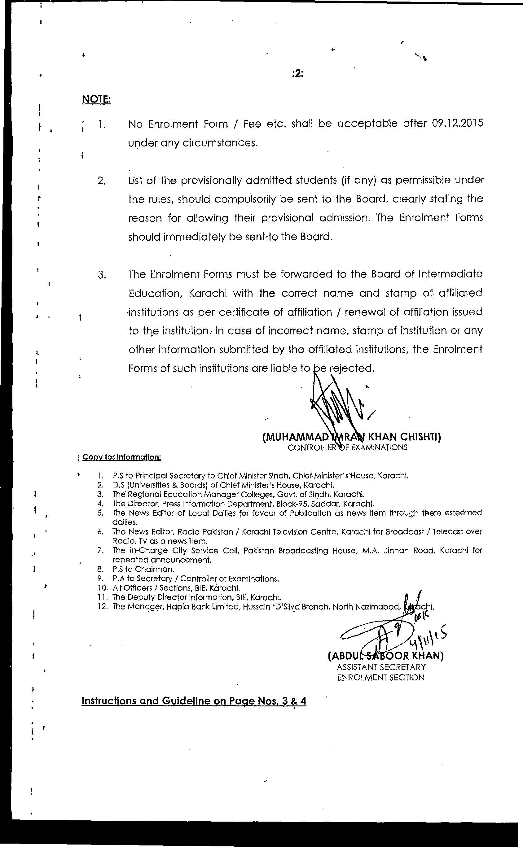 BIEK Karachi Board Inter part 1, 2 Form Submission Schedule 2016 Dates,
