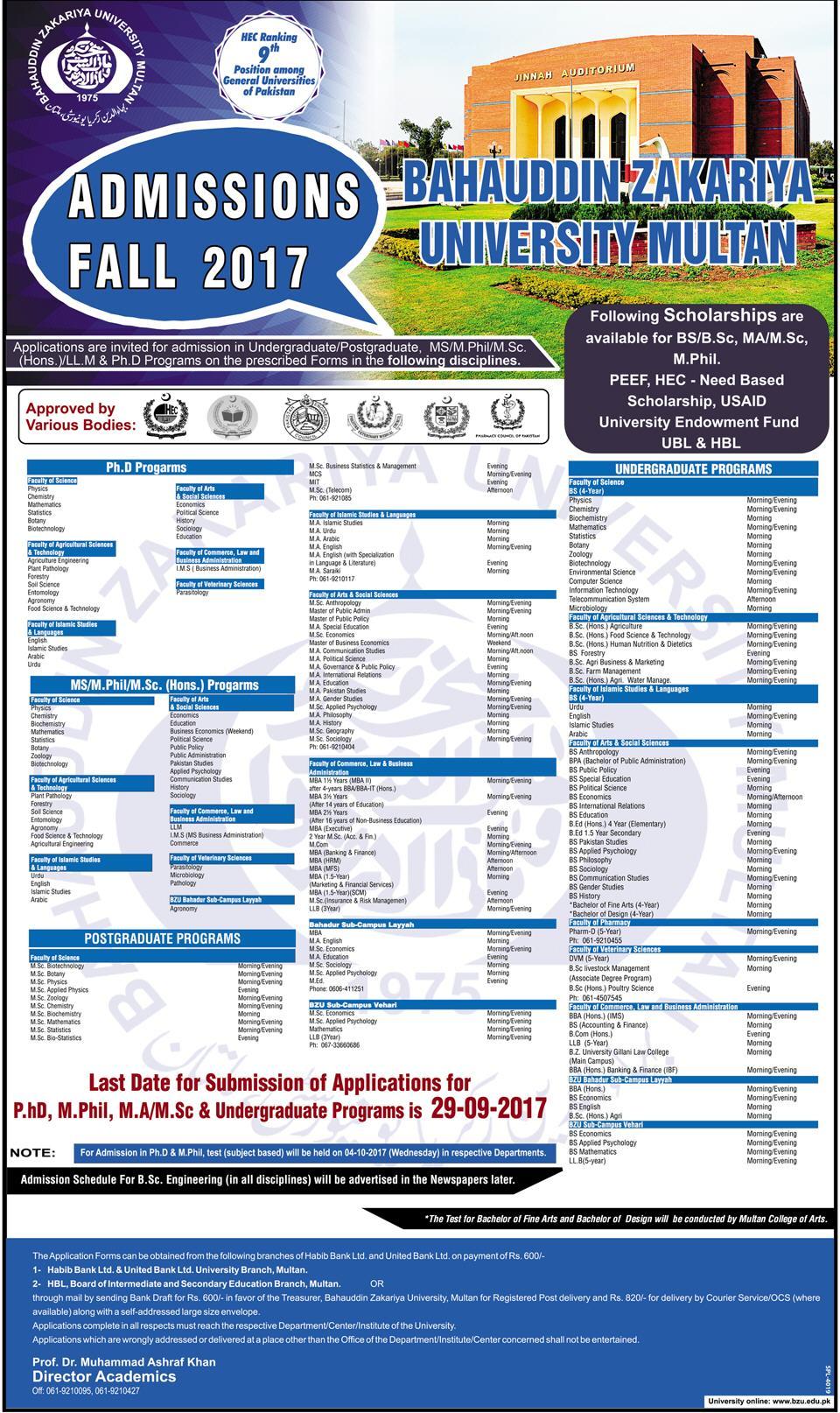 BZU Multan MS, Mphil, MSc, LLM Admissions Fall 2017-2018 Form