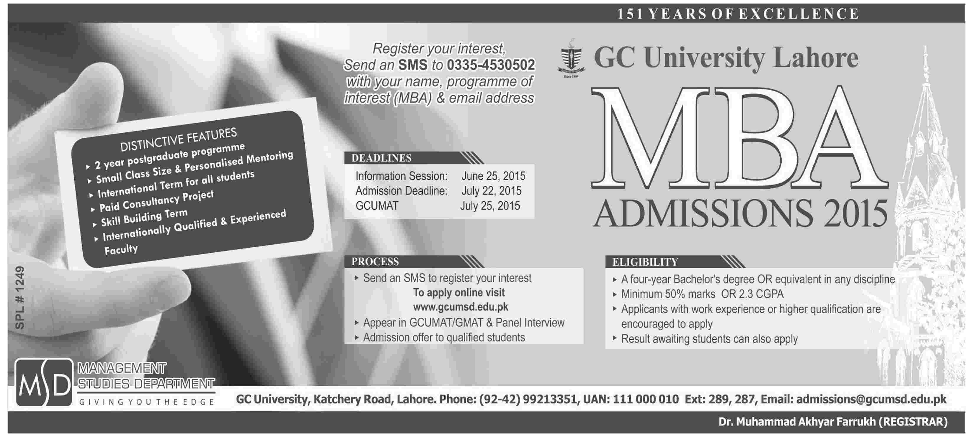 GC University Lahore MBA Admission 2015