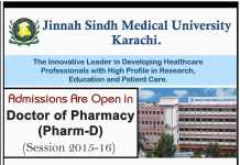 Jinnah Sindh Medical University Pharm D Admissions 2015-2016 JSMU Entry Test