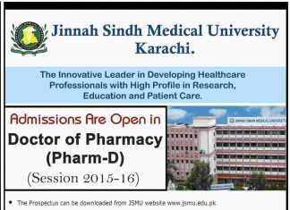 Jinnah Sindh Medical University Pharm D Admissions 2015-2016 JSMU Entry Test