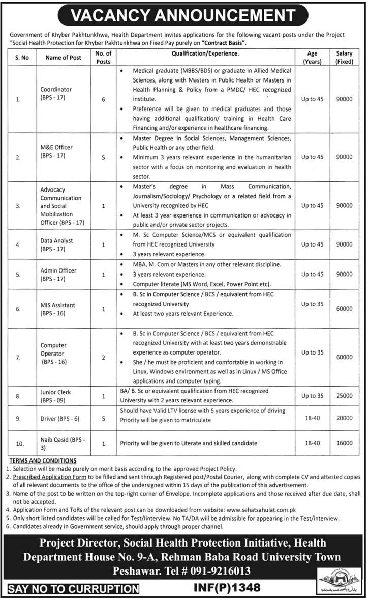KPK Health Department Jobs 2018 Application Form, Test Dates