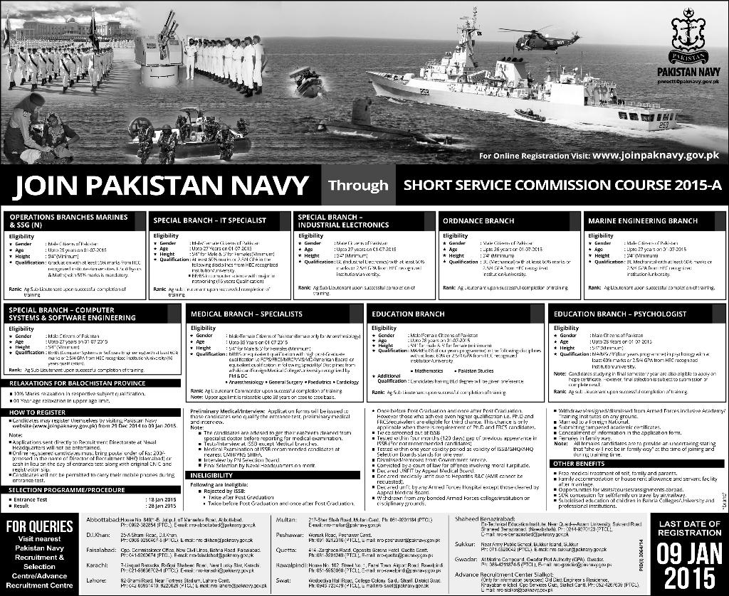 Pakistan Navy Jobs Through Short Service Commission 2015 A Registration Last Date