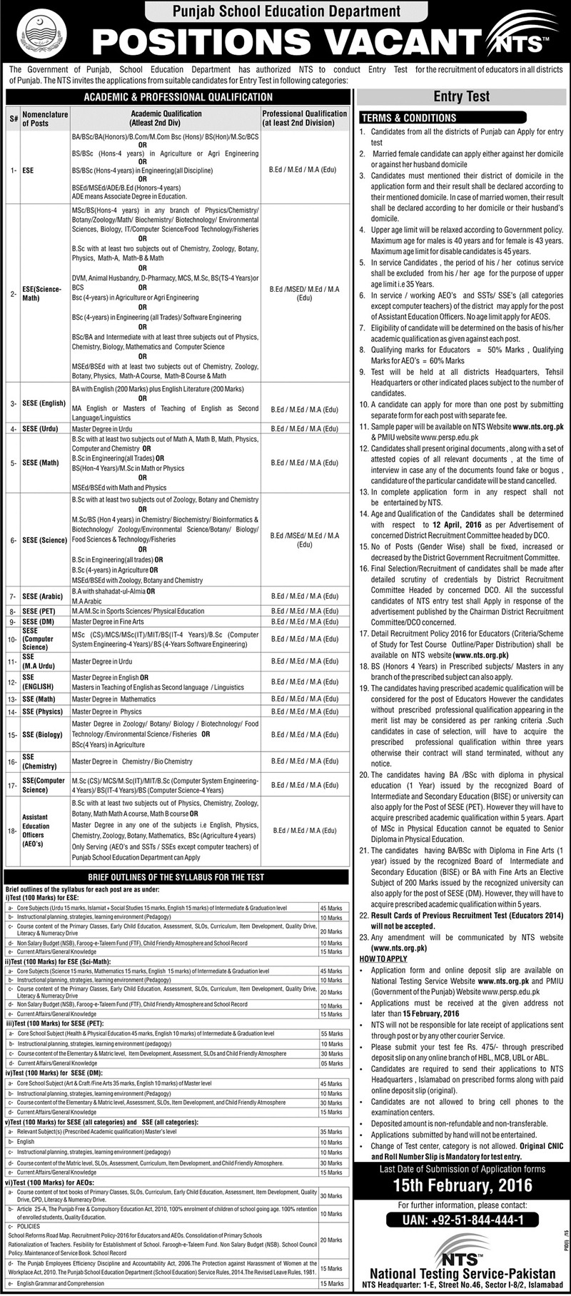 Punjab Educators Jobs 2016 for District Gujrat Interview Dates