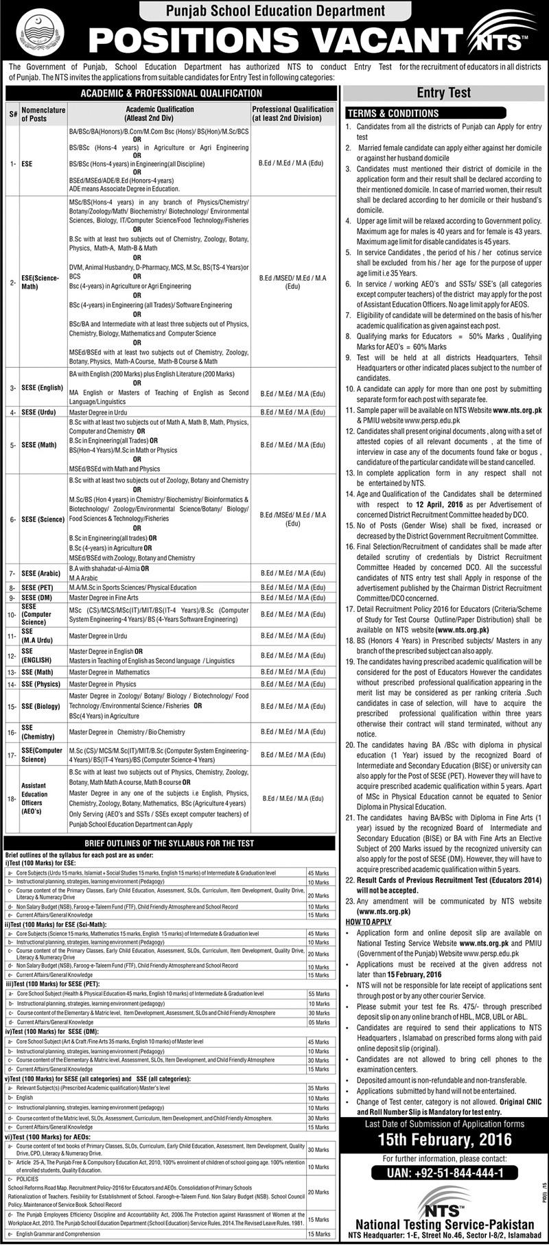 Punjab Educators Jobs 2016 for District Gujrat Interview Dates