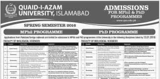 Quaid i Azam University Islamabad M.Phil, PhD Spring Admissions 2016 Form