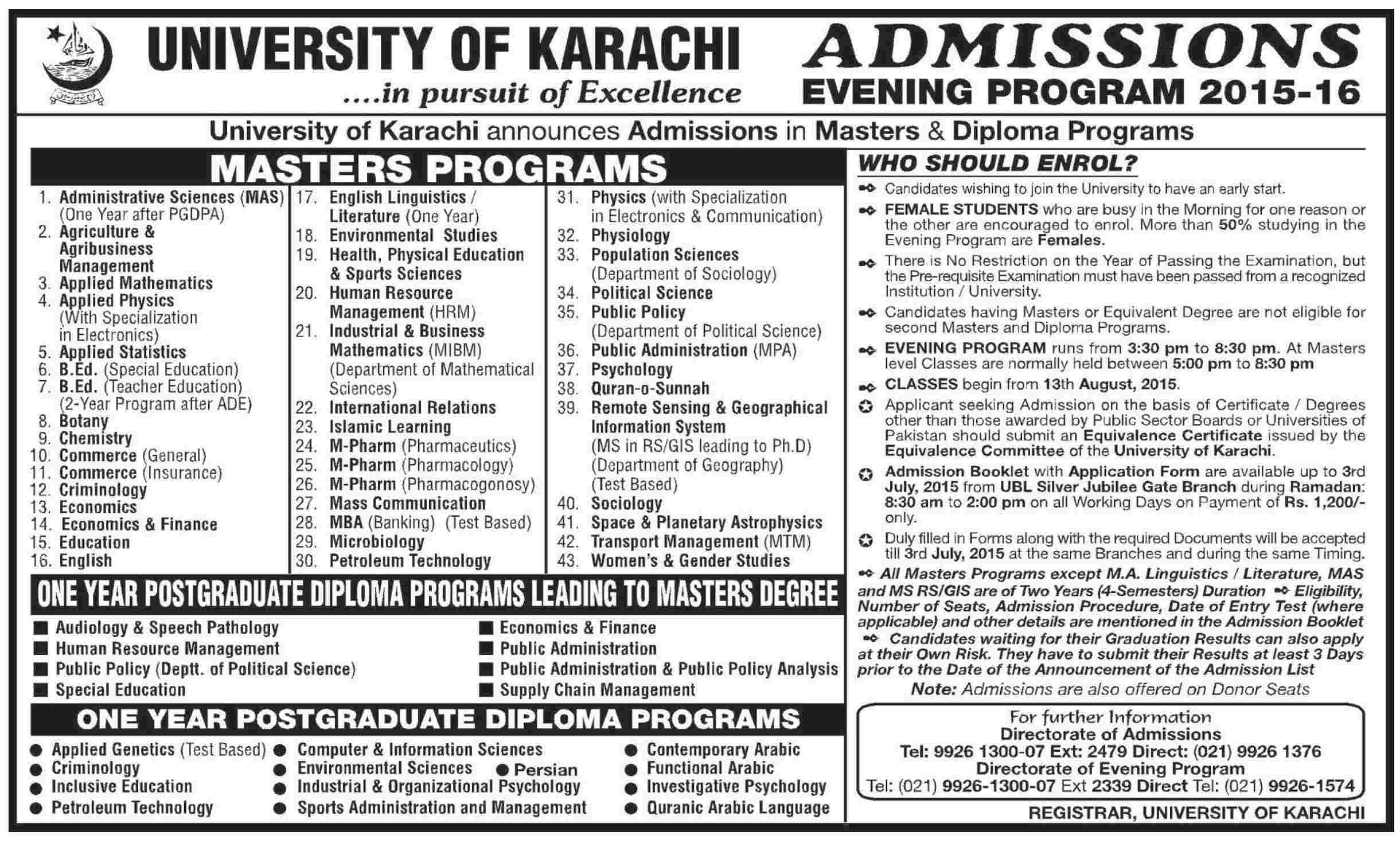 University Of Karachi UOK Evening Program Admission 2015