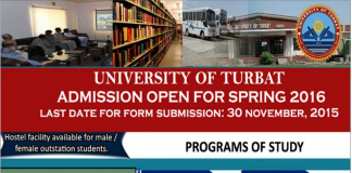 University of Turbat Balochistan Admissions Spring Admission 2016