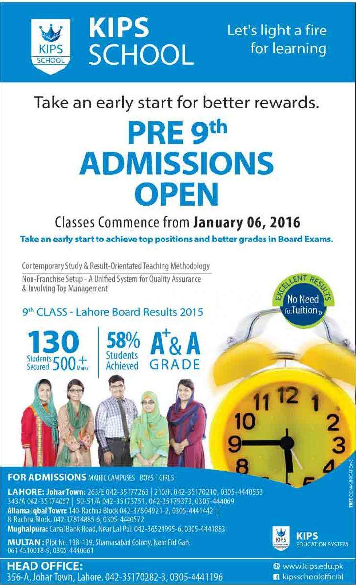 KIPS School Admissions 2016