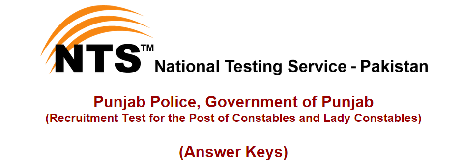 Punjab Police Constable, Lady Constable NTS Test Result 2015 Answer Keys