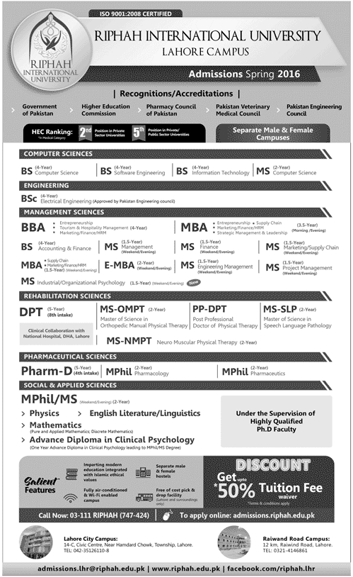 Riphah International University Spring Admission 2016